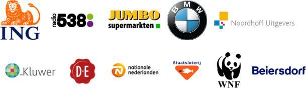 ING Bank    Radio 538   Jumbo Supermarkten   BMW   Noordhoff   Kluwer   Douwe Egberts   Nationale Nederlanden Staatsloterij   WNF   Beiersdorf